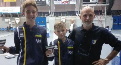 da sinistra:Francesco Greselin, Mattia Zanon e il preparatore atletico Fabrizio Capellini