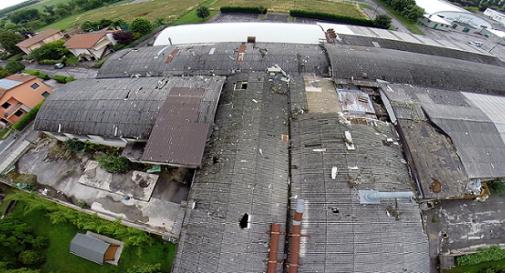 amianto sul tetto dell'ex CDM di Meduna