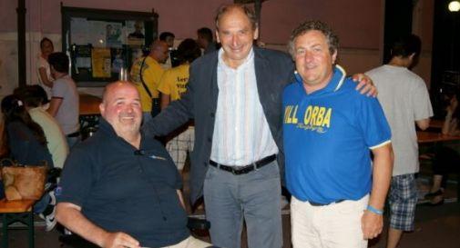 il vicepresidente Bruno Cendron, George Villepreux e il consigliere Luca Guglielmin in occasione dell'ultima festa sociale