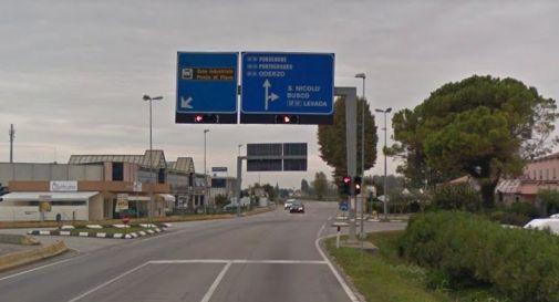 l'incrocio semaforico a Levada di Ponte di Piave