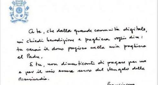 Lettera Papa Francesco per Paolo Berro