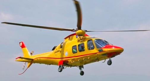 Elicottero 118 Modello : Moriago grave incidente sul lavoro operaio ferito